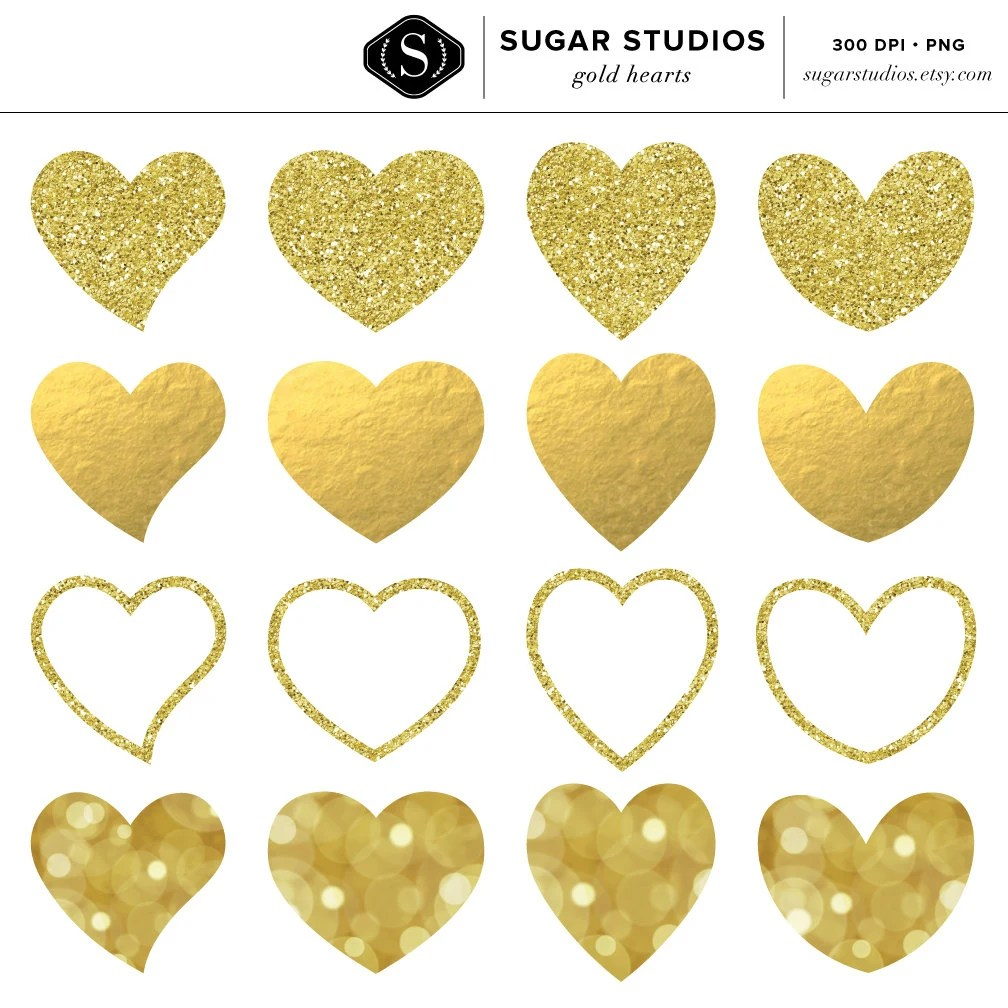 Gold Glitter And Foil Hearts Digital Clip Art Set 16 Pieces