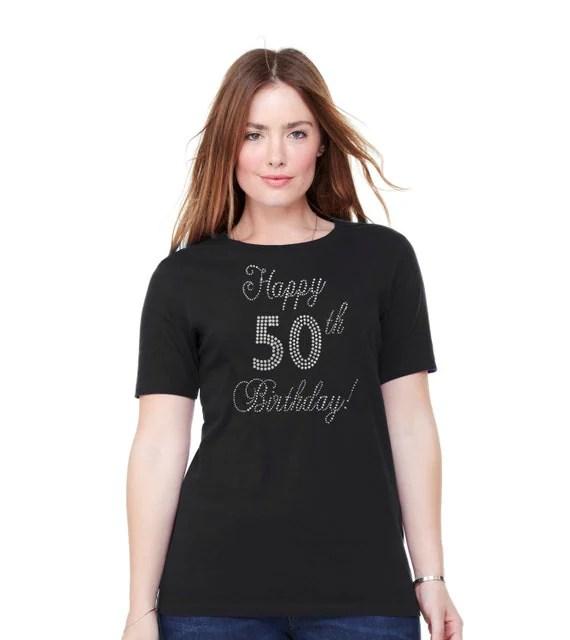 50th Birthday Rhinestone T Shirt