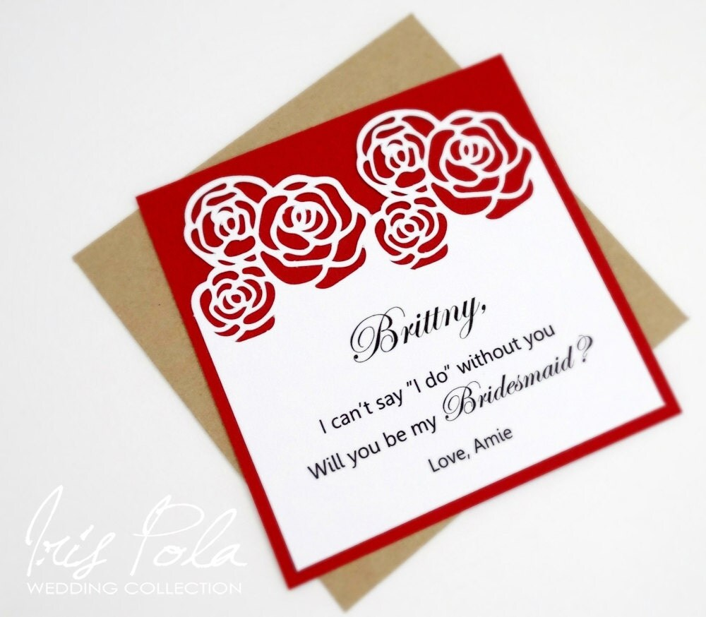 Laser Cut, Will you be my Bridesmaid, Paper Lace, Roses, Red ...