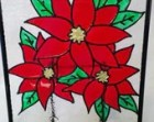Red Poinsettia Hand Painted Christmas Glass Art