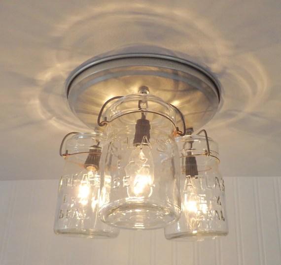 Mason Jar CEILING LIGHT Hanging Pints Farmhouse Kitchen