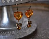 VintageTopaz Amber Glass Heart Earrings With Brass Bows - Vintage Assemblage