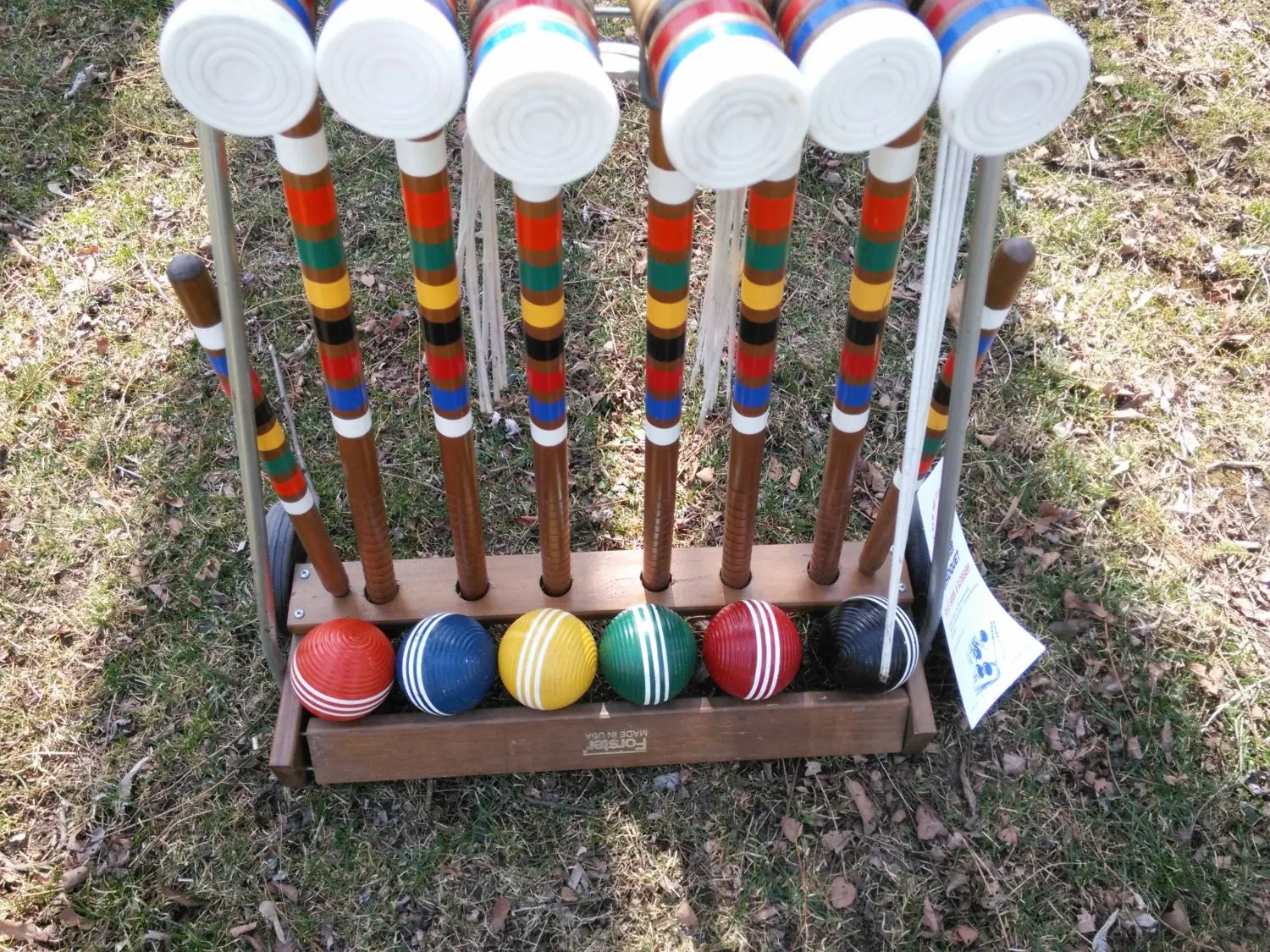 Vintage Forster Six Player Wood Croquet Set With Wood Wheeled