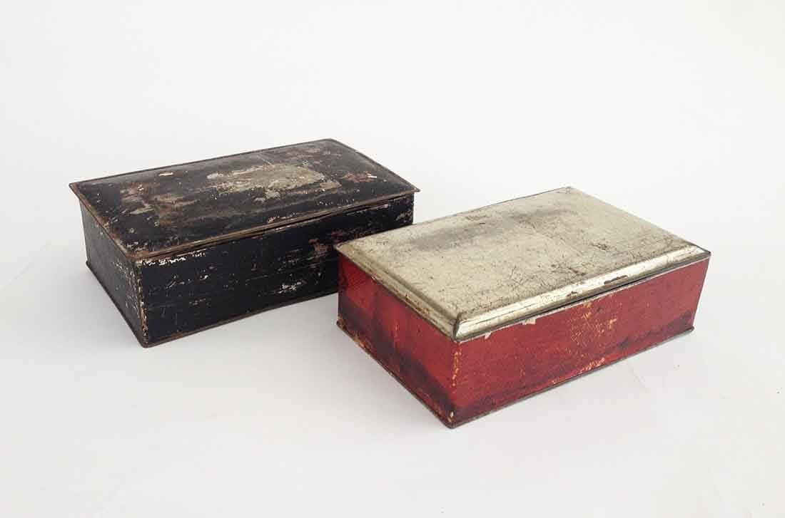The Weathered Metal Desk Boxes Set Of 2 Vintage Home