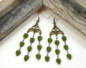 Antique Brass Celtic Knot Green Leaf Vines Chandelier Earrings, Bohemian, Elvish, Nature Jewelry, St. Patrick's Day