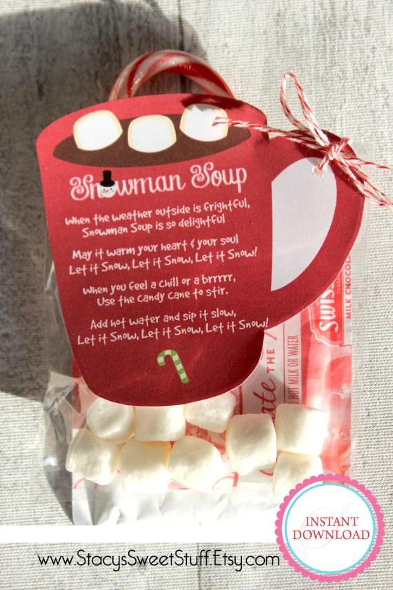 Snowman Soup Tag Holiday Tag Hot Chocolate Tag Christmas