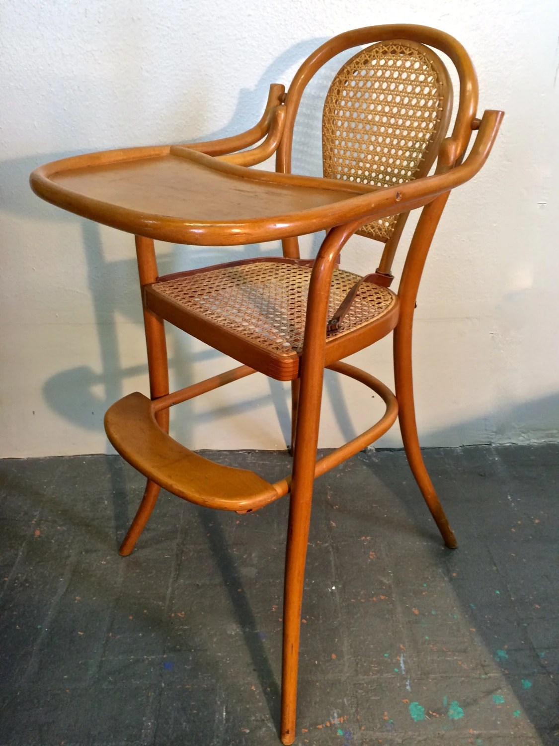 beautiful vintage bentwood infant baby highchair with original cane tray leather strap by. Black Bedroom Furniture Sets. Home Design Ideas