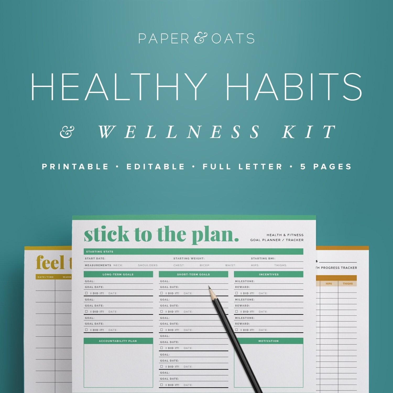 Healthy Habits Amp Wellness Kit Editable Health And Fitness