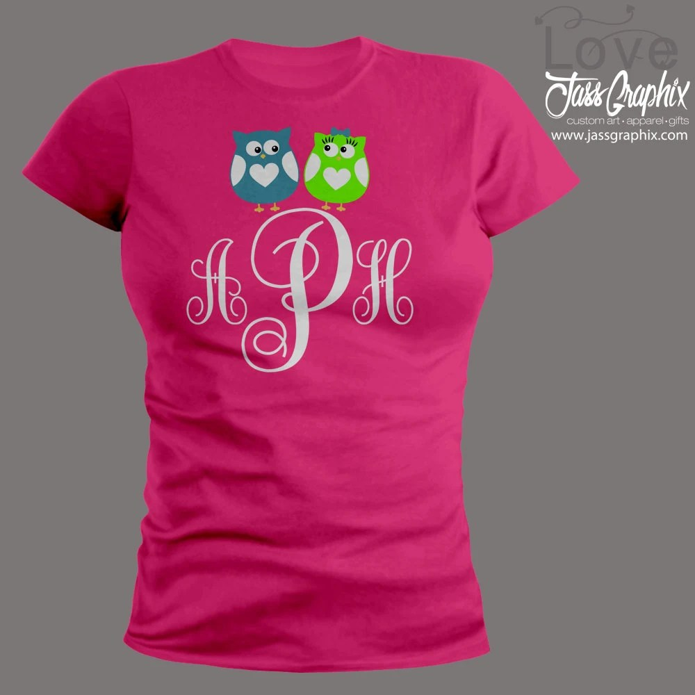 Valentines Day Shirt Monogrammed With 2 Cute OwlsThis