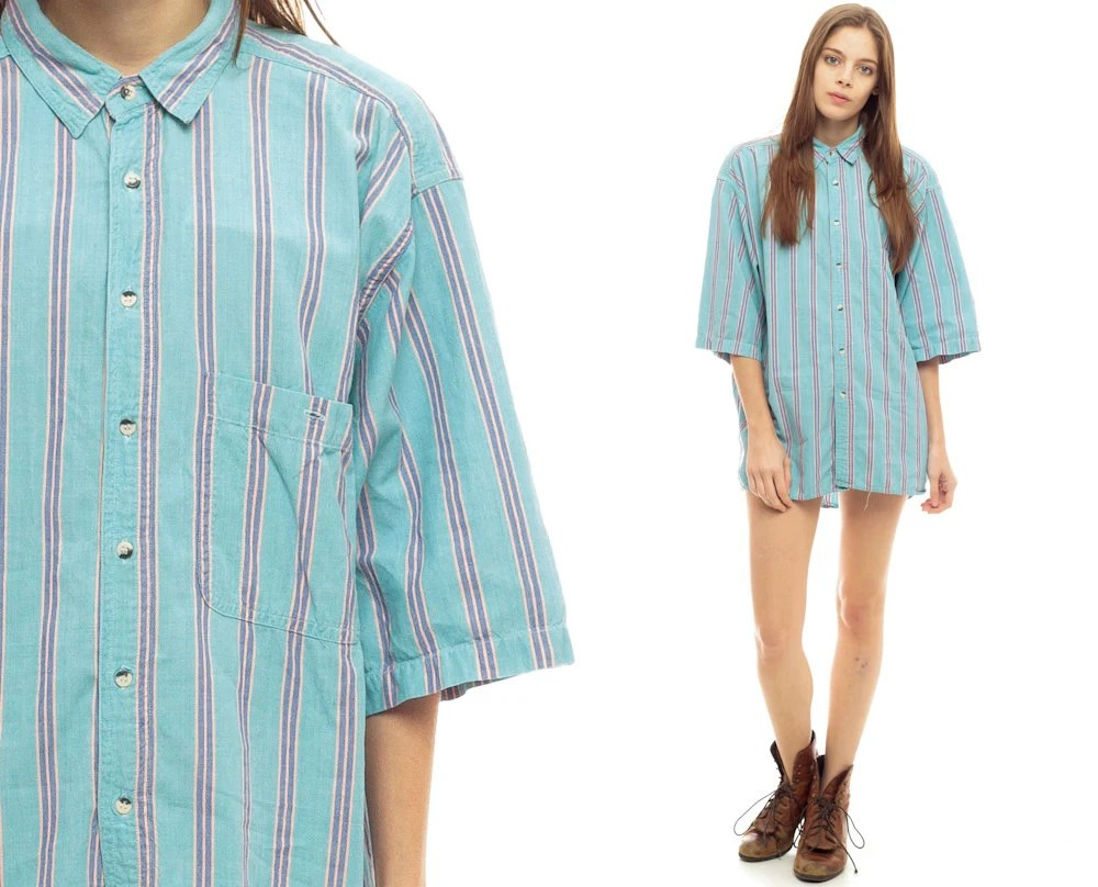 80s Button Up Shirt Striped Baby Blue Grunge Oversized Top