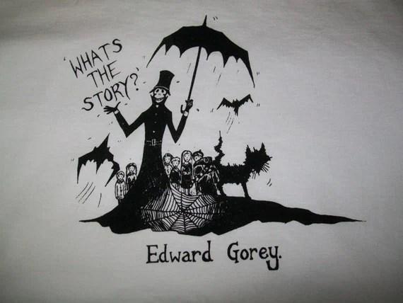 Edward Gorey Inspired T Shirt Top Hand Printed Illustration