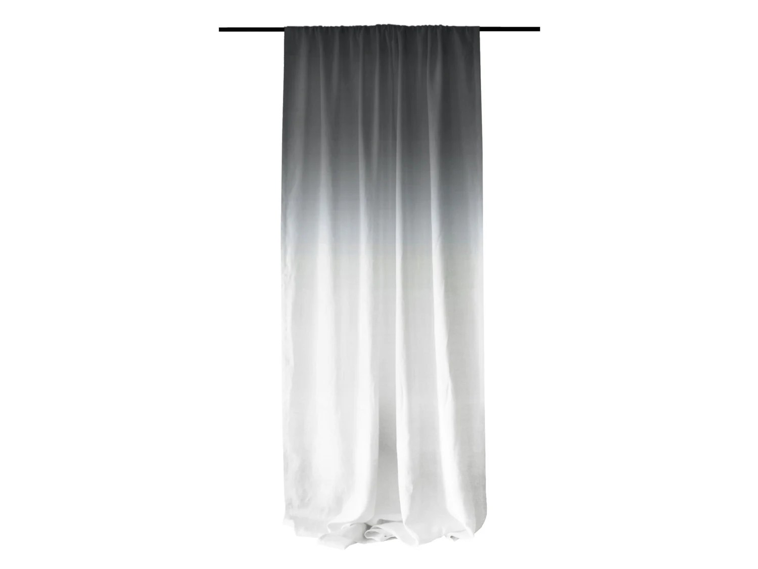 Window Curtain Ombrè Grey Fade To White Linen By
