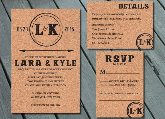 Wine Cork Vinyard WEDDING Invitation Suite With RSVP And Info