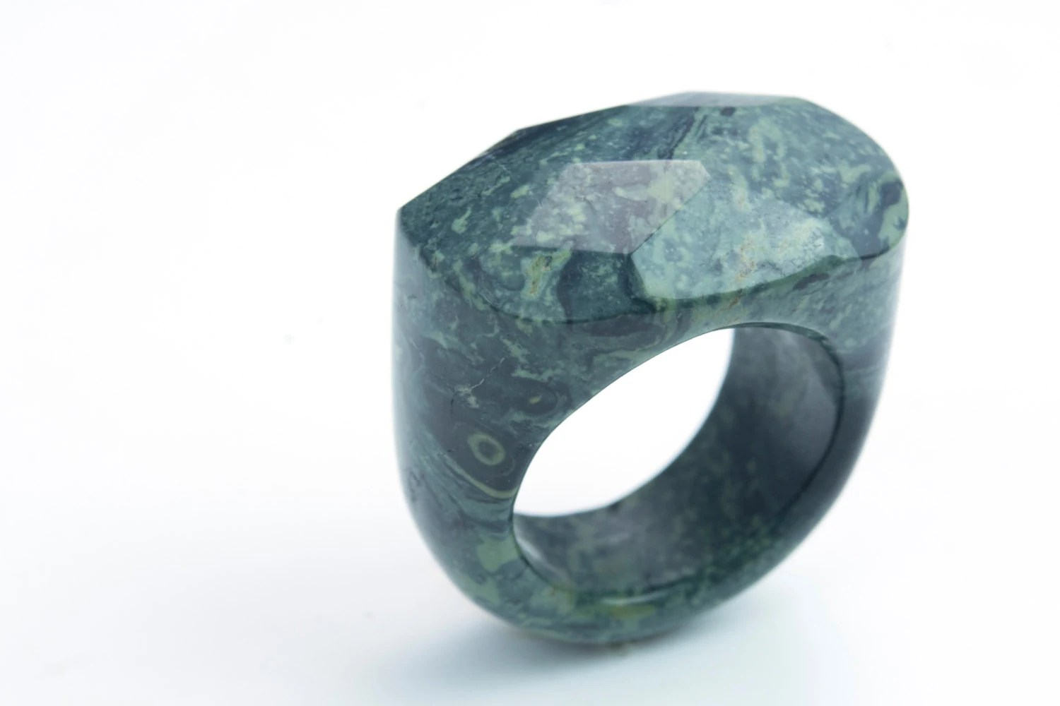 dark green jasper ring kambaba gemstone ring – dark green jewelry – natural
