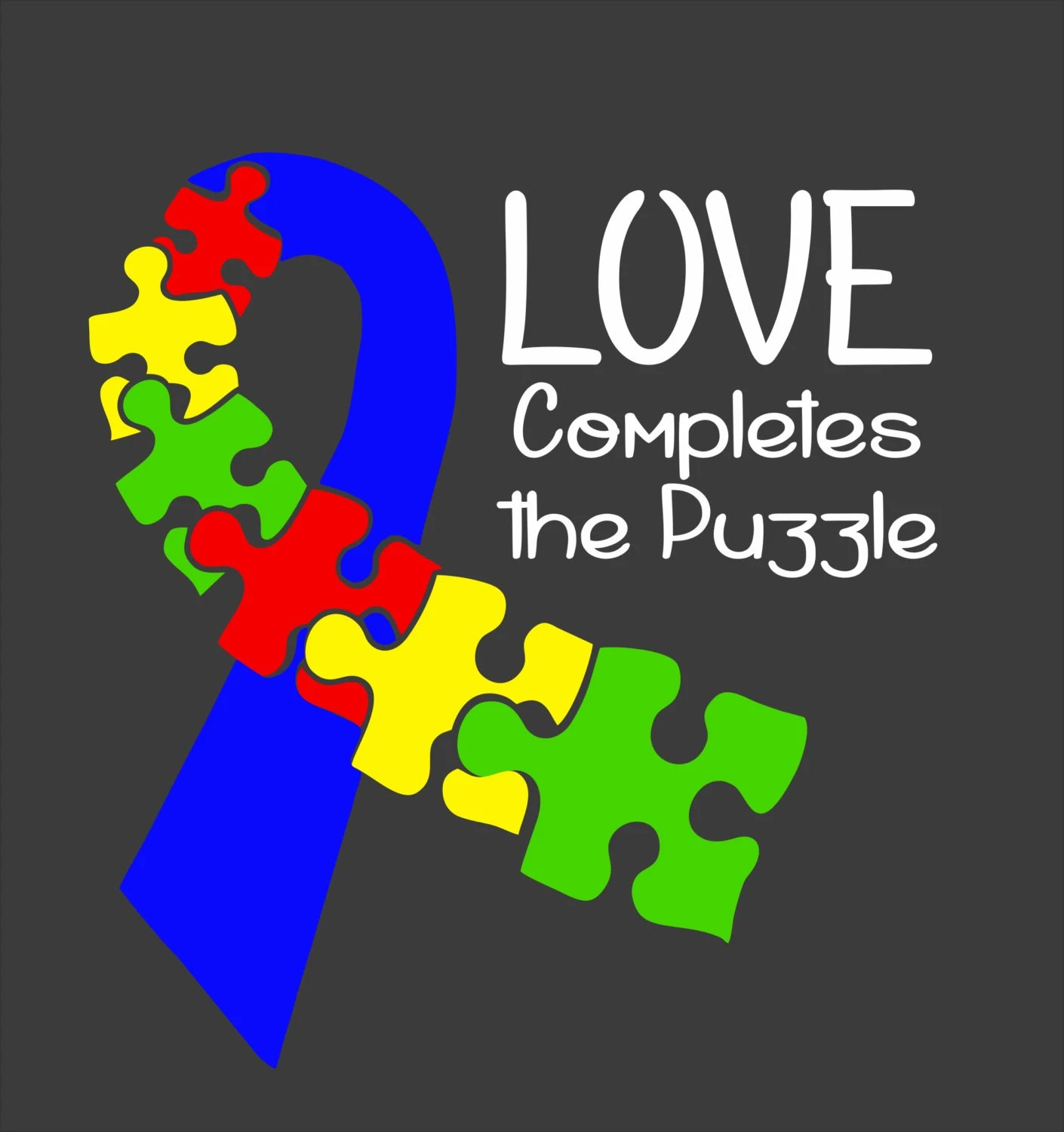 Autism Puzzle Ribbon Love Completes The Puzzle Car Decal