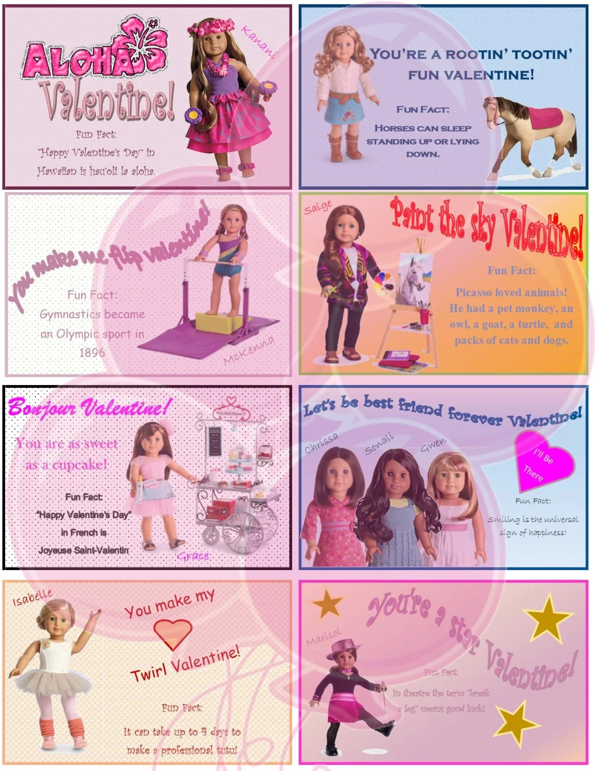 American Girl Valentine S Day Card Printable File