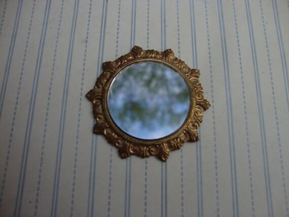 Vintage Miniature Round Dollhouse Mirror Ornate By Onebluenote