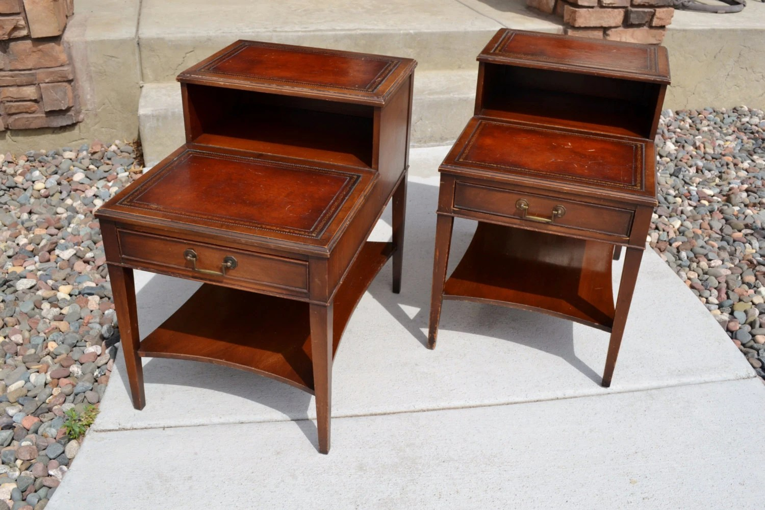 Pair Of Vintage Mahogany Leather Top Step End Tables By