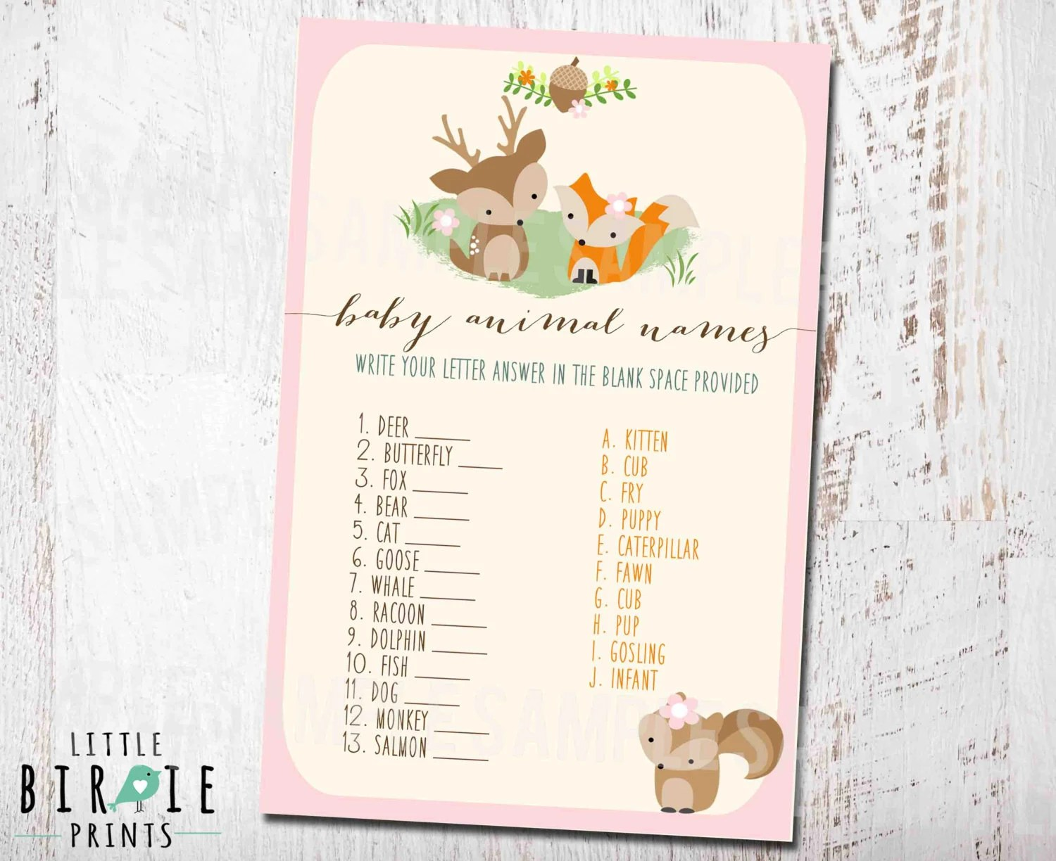 Woodland Baby Shower Game Baby Animal Names Girl Woodland