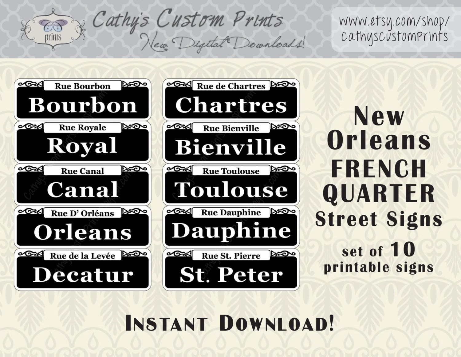 Mini New Orleans French Quarter Printable Signs Set Of 10