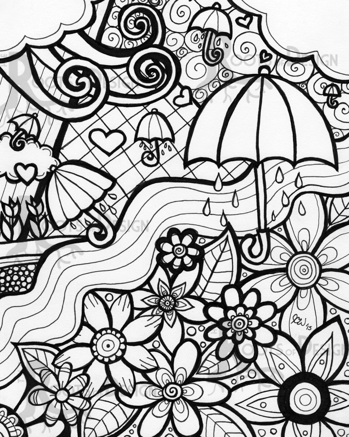 Instant Download Coloring Page April Showers Bring By