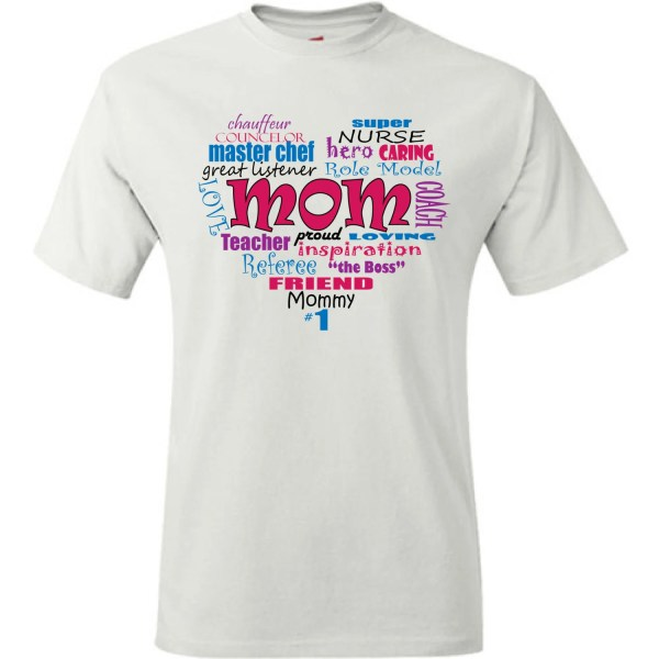 Mom shirt. Mother's day gift idea. Word collage depicting