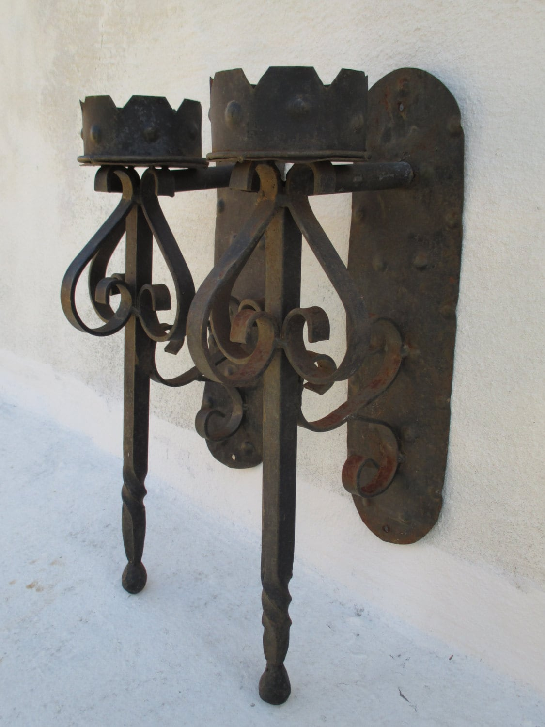 PAIR of Wrought Iron Medieval Gothic Torch Candle Holder Wall on Metal Candle Holders For Wall id=52596