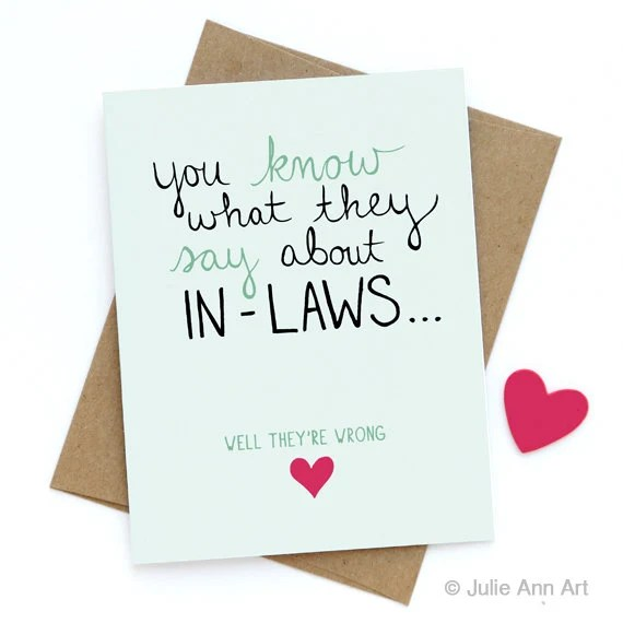 Mothers Day Card Mother In Law Card Inlaw Card You Know