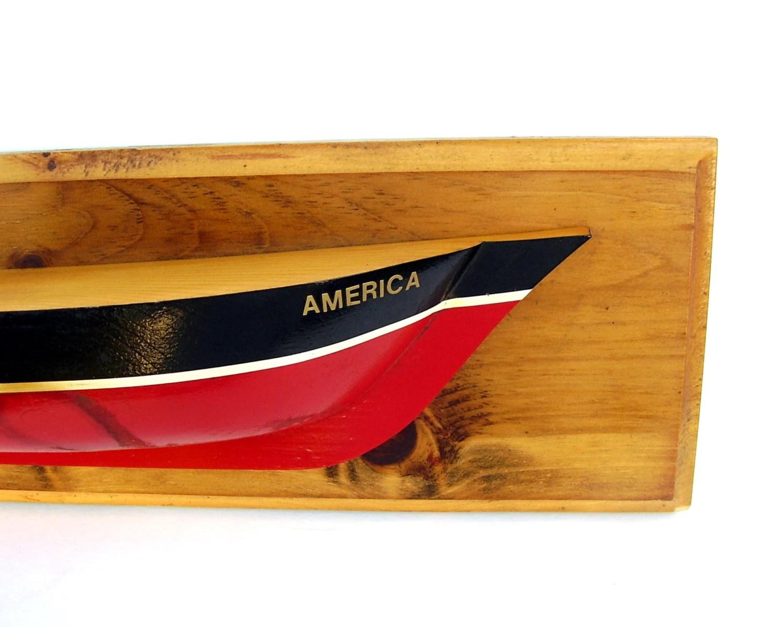 Vintage Half Hull Sail Boat Nautical Decor Red White Blue