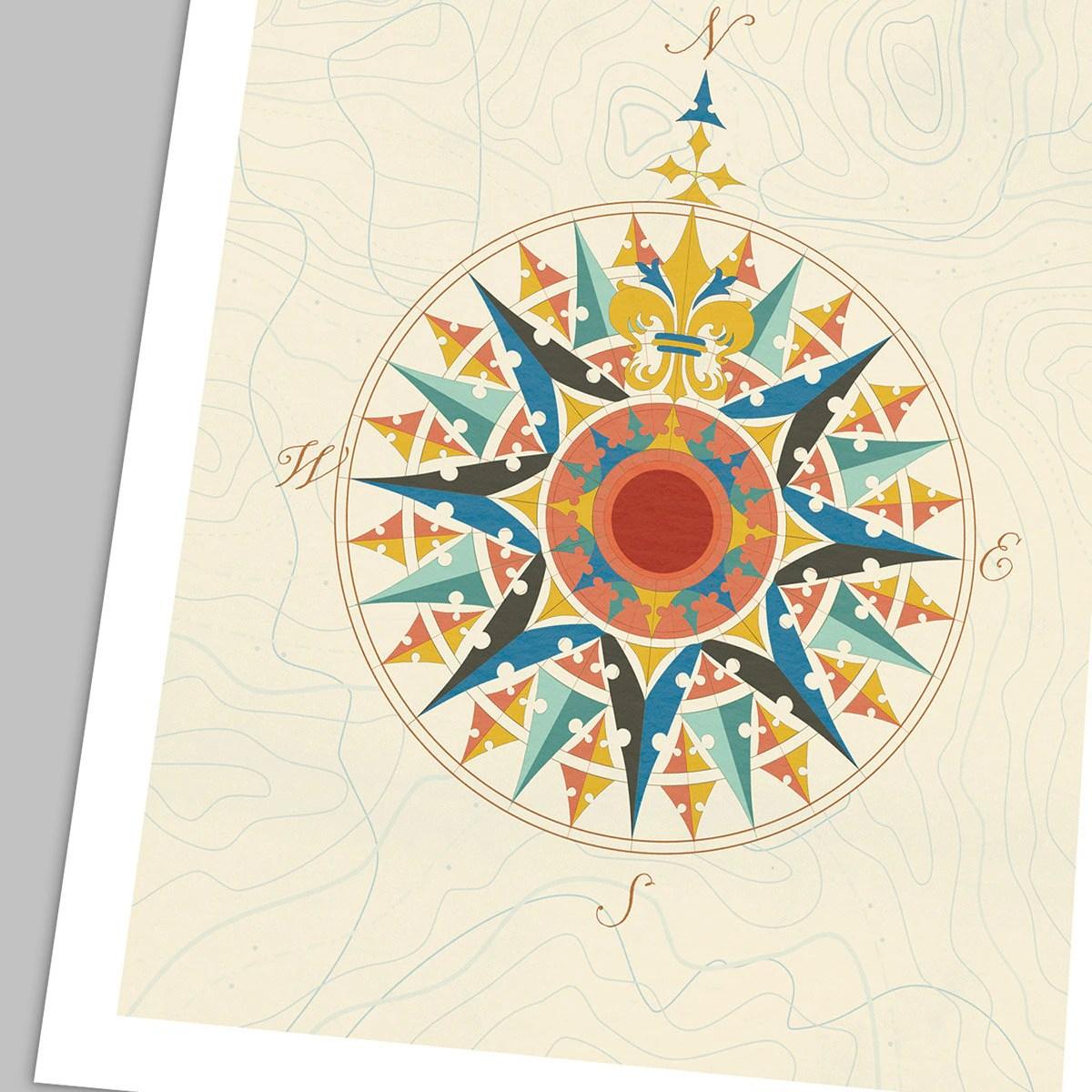 Nautical Compass Rose Modern Print Poster Design