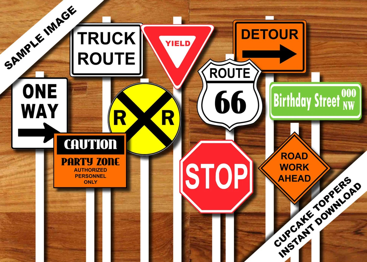 Transportation Construction Printable Road Sign Cupcake