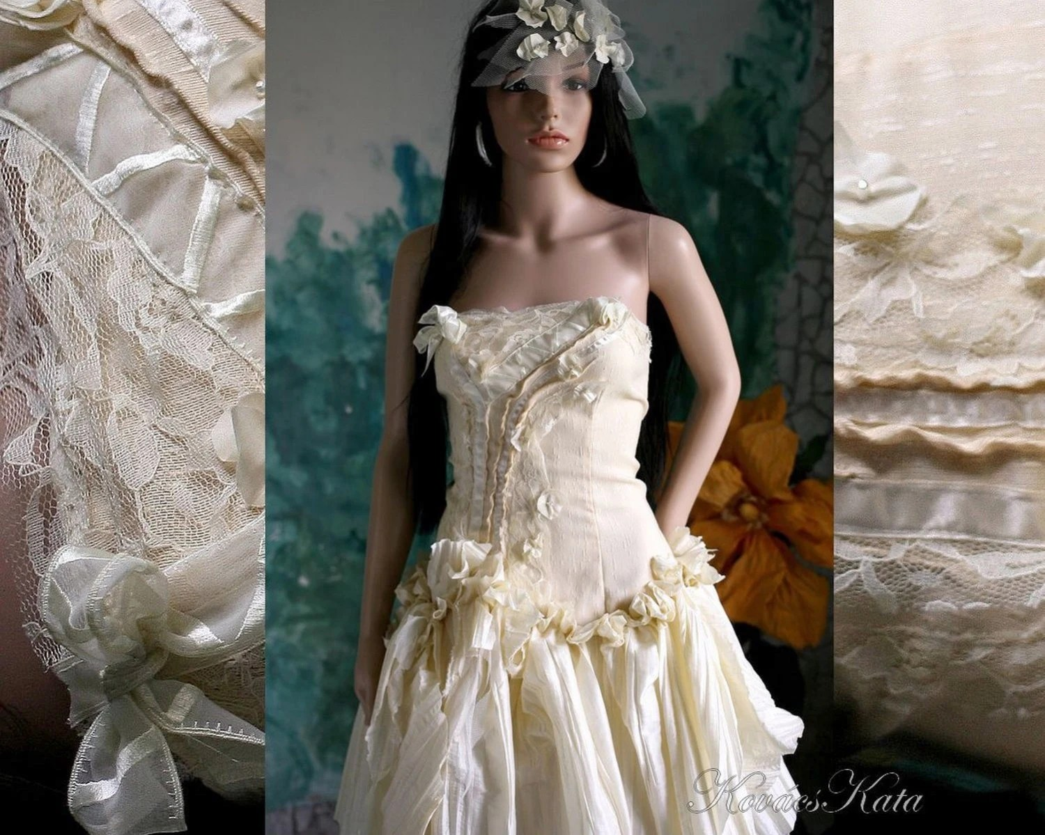 Bohemian Steampunk Bustle Alternative Wadded Wedding Dress