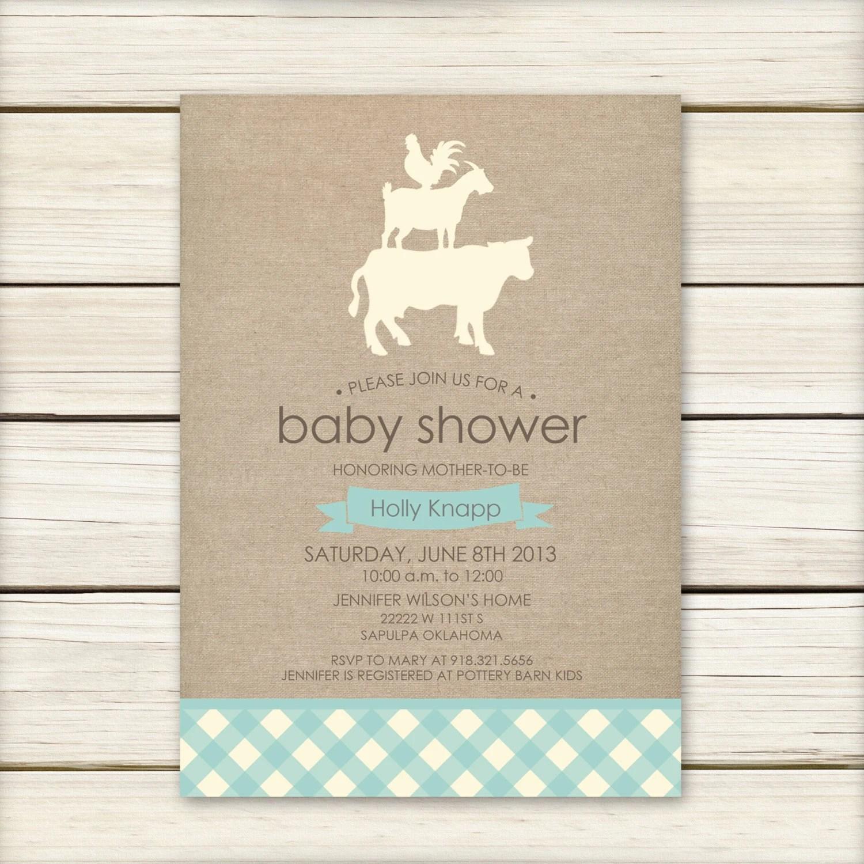 Farm Baby Shower Invitation Baby Shower Invitaiton Blue