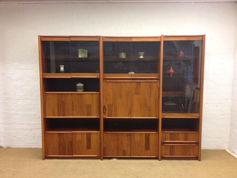 Large mid century danish modern rosewood wall unit for Modern wall bar unit