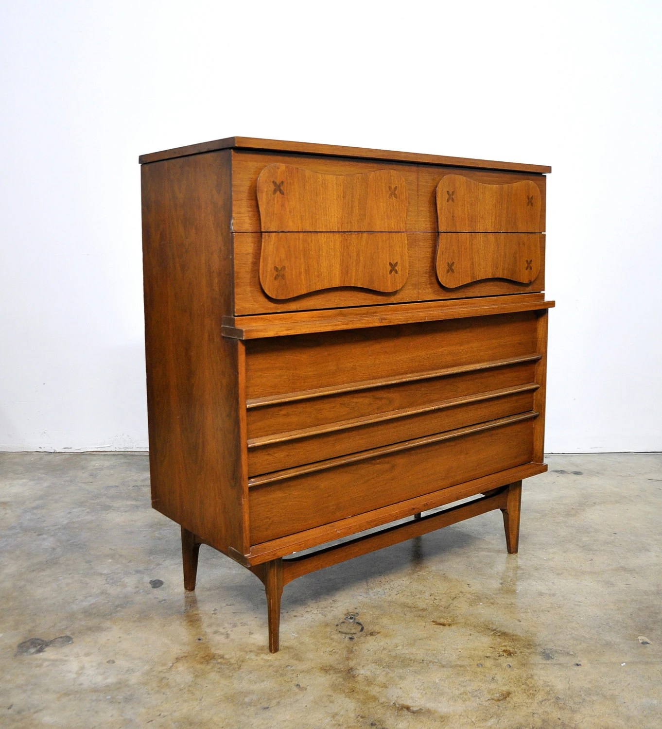 Mid Century Danish Modern Highboy Dresser Walnut Gentleman