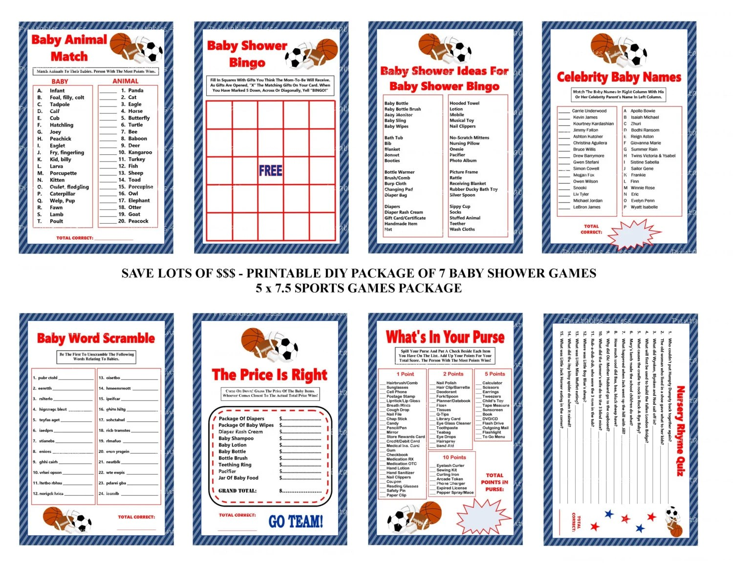 Sports Baby Shower Games Sports Theme Baby By Printables4less