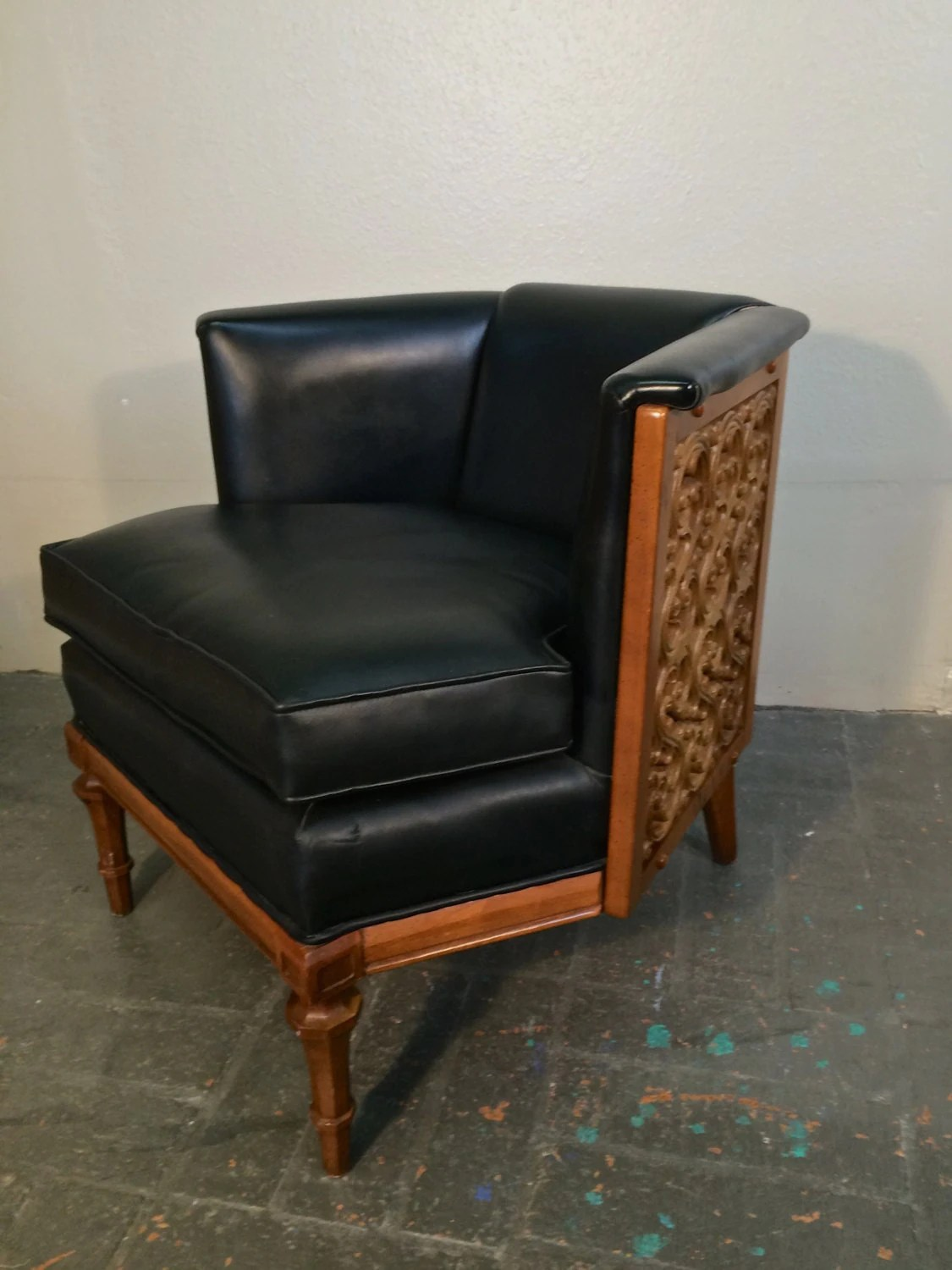 Stunning Mid Century Modern Barrel Armchair Carved Wood by