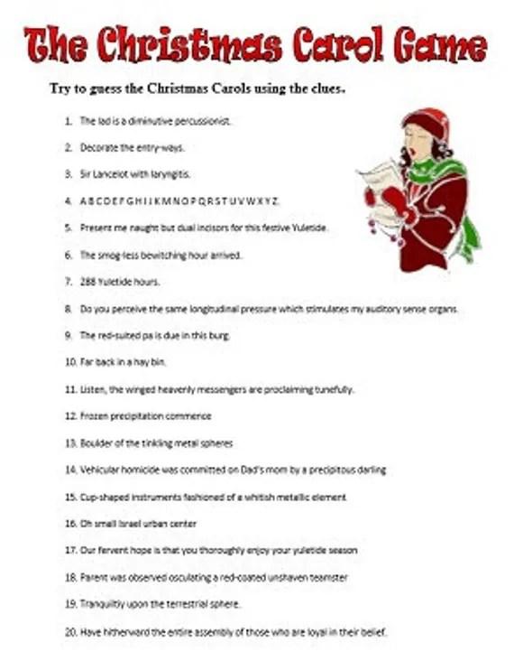 Guess The Christmas Carol Printable PDF Game Instant