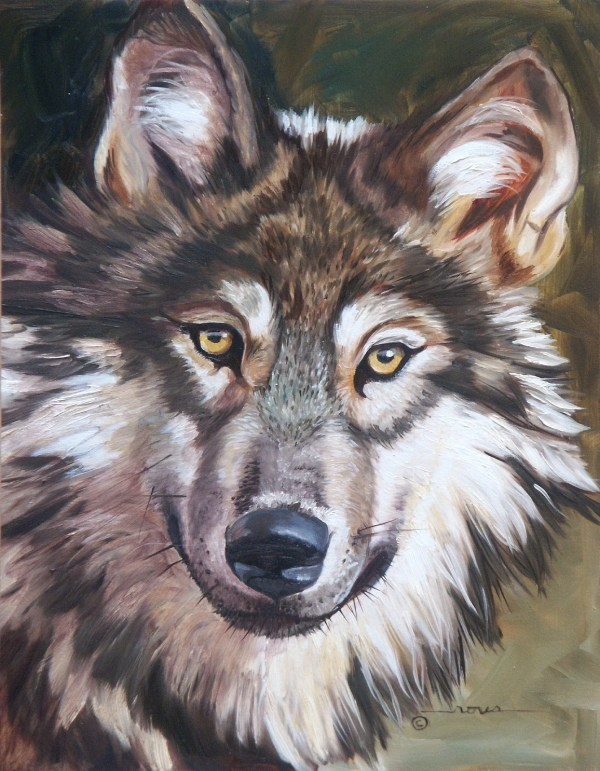 Original oil painting wolf portrait dog animal wildlife wall