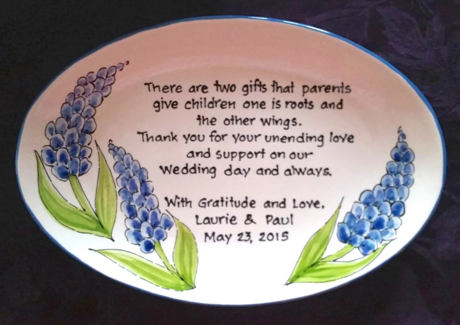 Wedding Gift For Parents Plate Thank You Mom And Dad