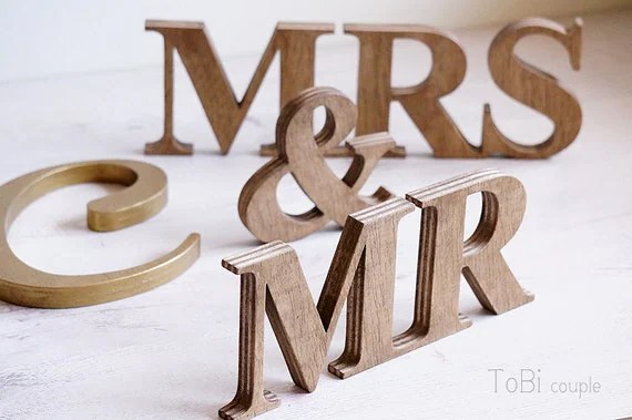 Rustic Wedding Sign Mr & Mrs Wooden Letters Table Decor