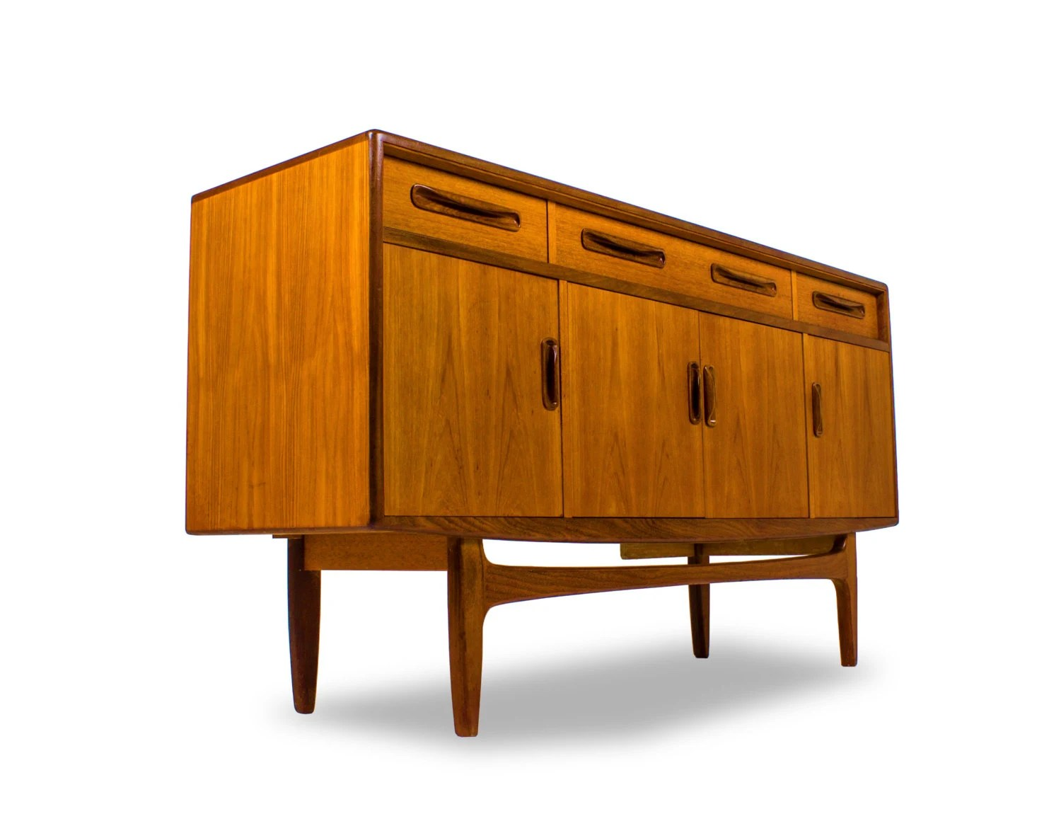 Plan MID CENTURY Credenza/Media Console Buffet. Drinks Cabinet . Full resolution  portrait, nominally Width 1500 Height 1160 pixels, portrait with #AD5402.