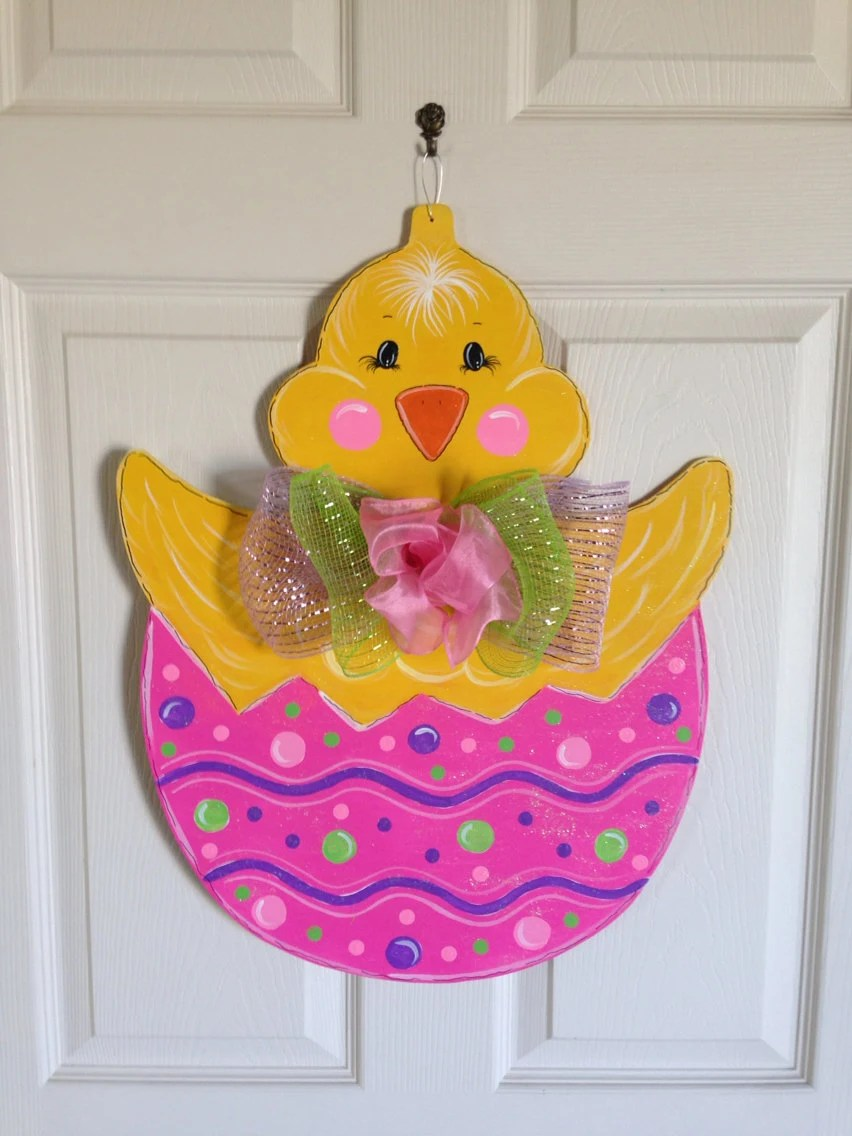 Easter Chick Painted Wood Image