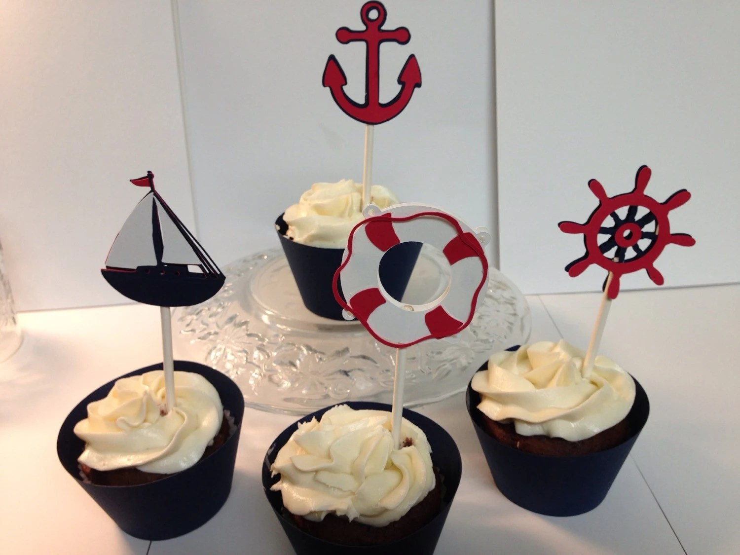 Nautical Cupcake Toppers/Wrappers By PaperCorner On Etsy