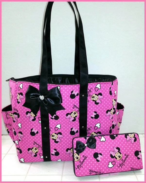 Pink Minnie Mouse diaper bag. Tote. Purse. Bow. Black.
