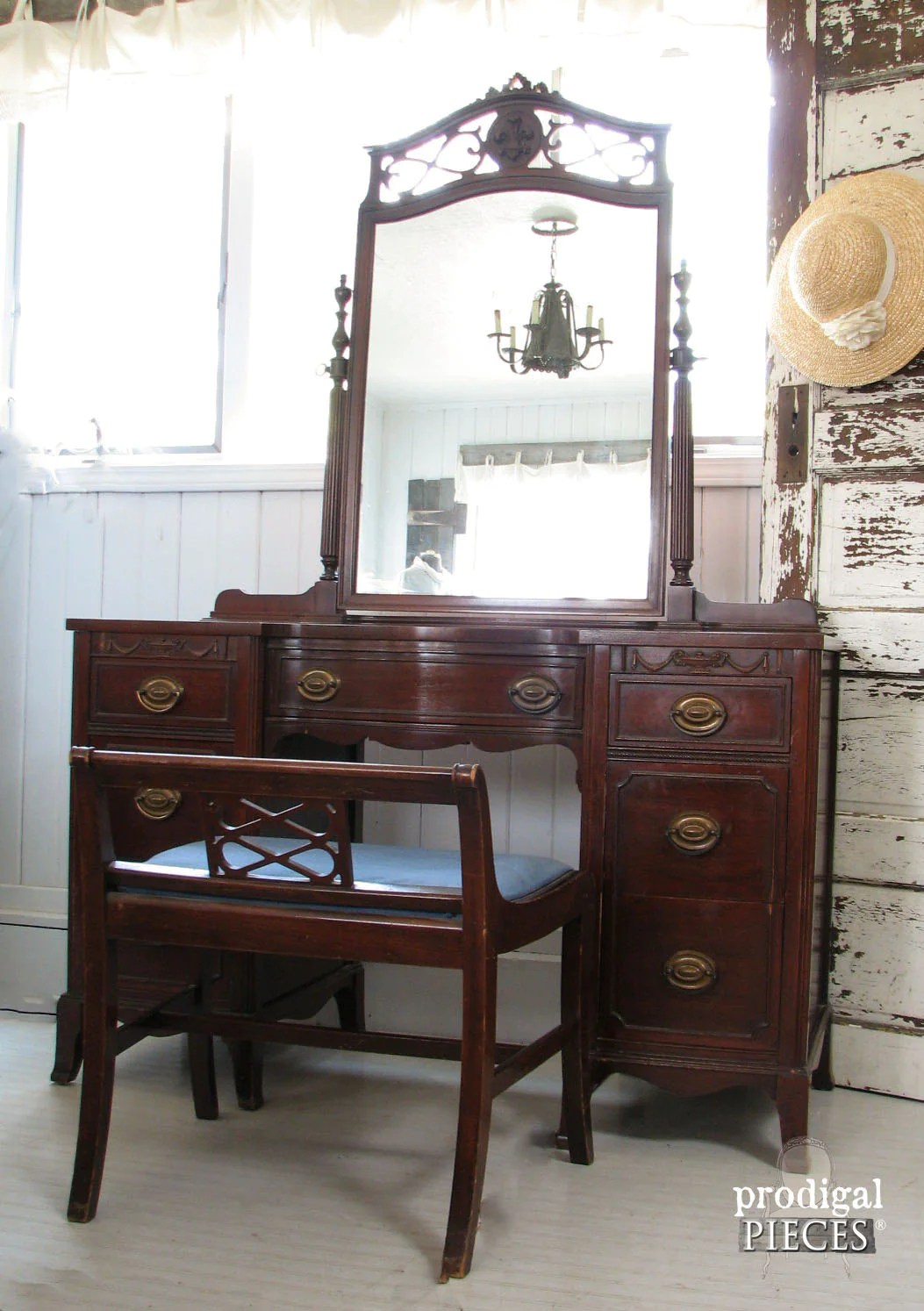 Ornate Vintage Dressing Table Vanity With Gorgeous Mirror Matching Upholstered Bench As Is