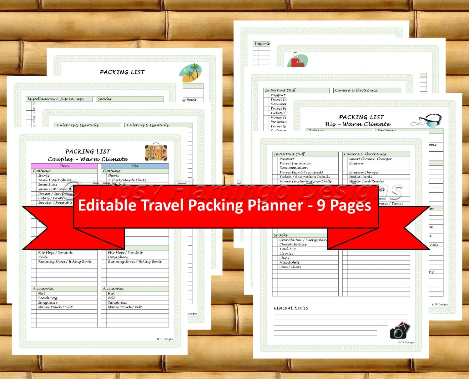Travel Planner Travel Packing List Vacation Planner Packing