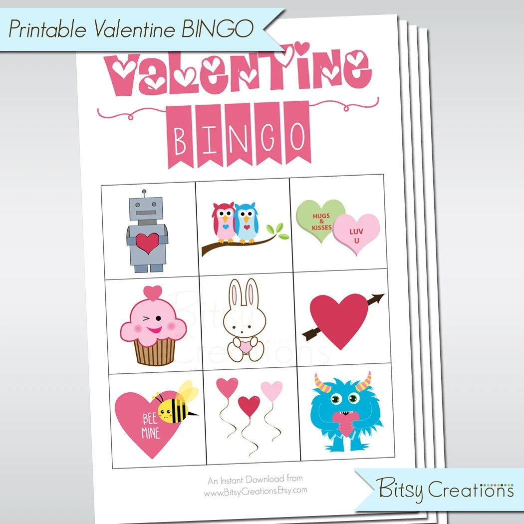 Printable Valentine Bingo Game Set For Preschoolers Or Young