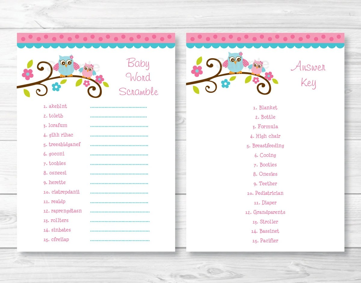 Pink Owl Baby Word Scramble Baby Shower Game Instant