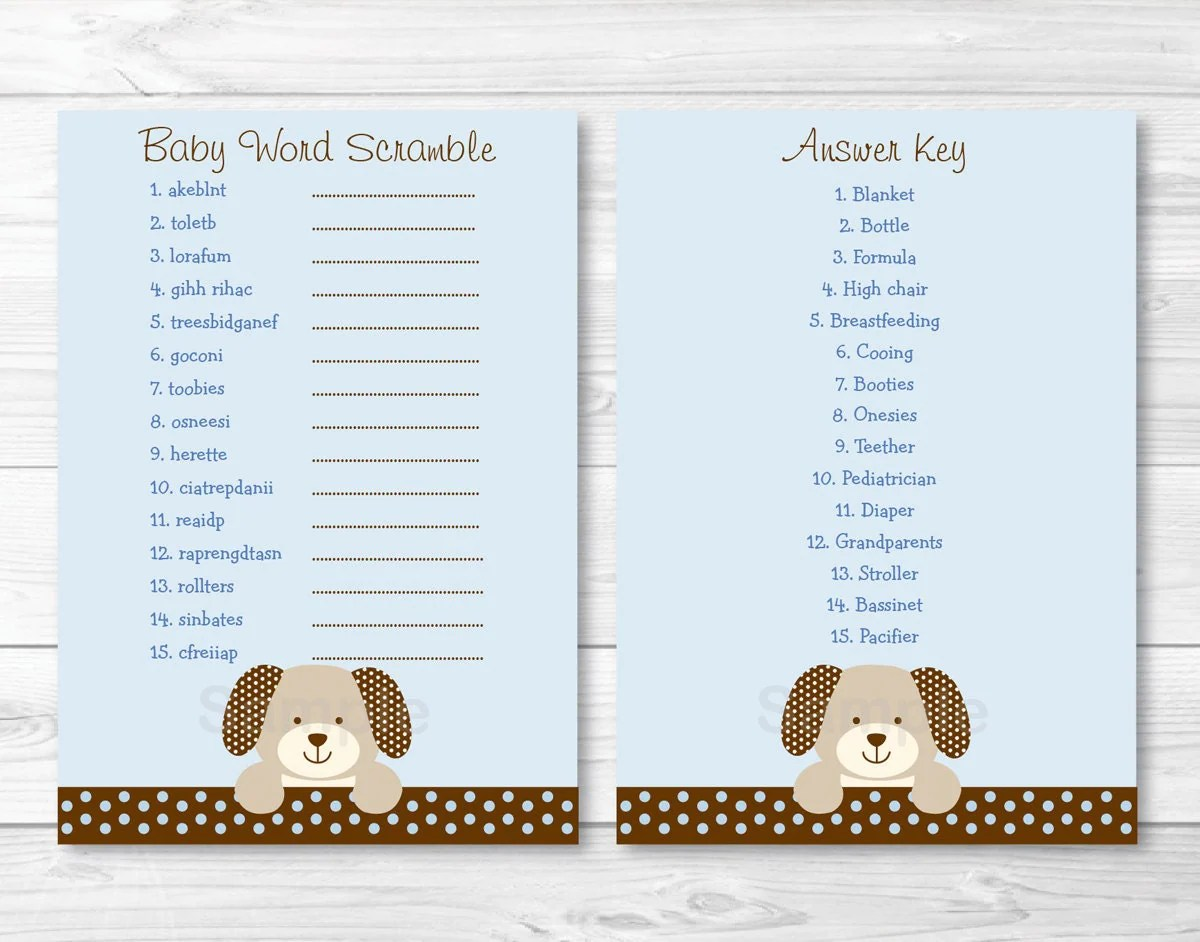 Cute Puppy Baby Shower Word Scramble Game Puppy Baby Shower